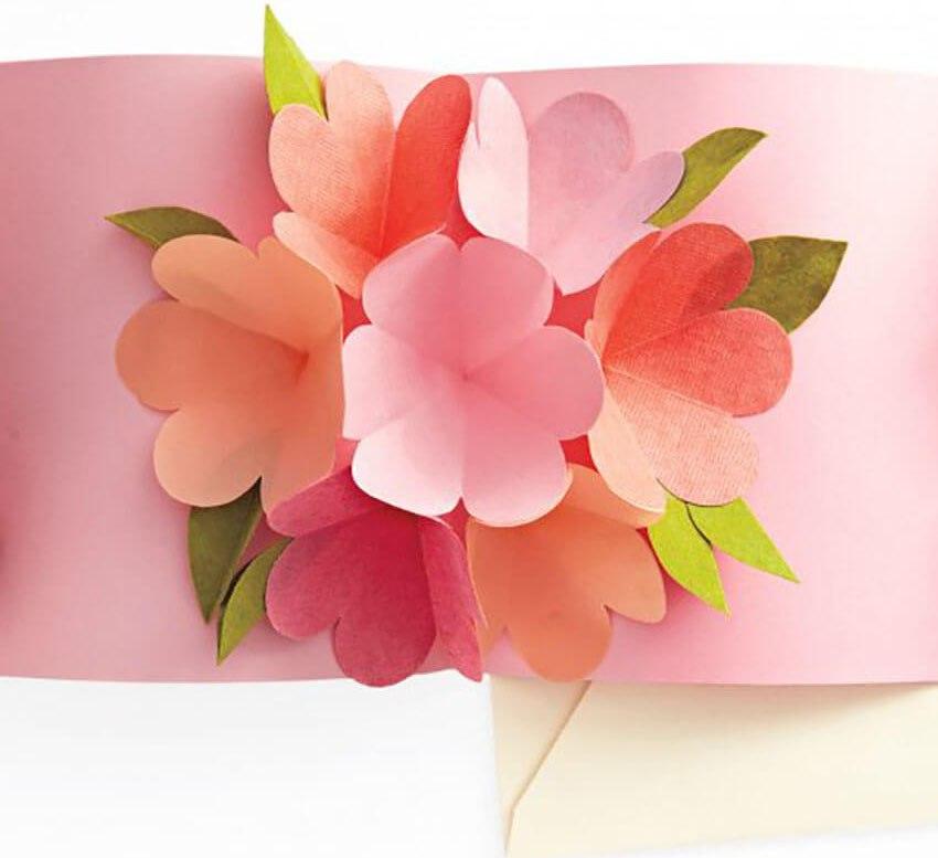 Как сделать внутри открытки объемный цветок 609